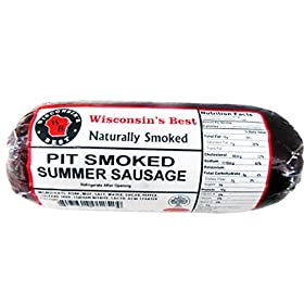 WISCONSIN'S BEST – PIT Smoked Summer Sausage – ORIGINAL – All Natural Hickory Flavor – 12 oz – Try with crackers!!