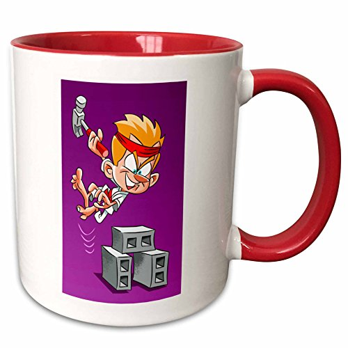 3dRose Edmond Hogge Jr – Cartoons - Karate Kid with Hammer - 15oz Two-Tone Red Mug (mug_204544_10)