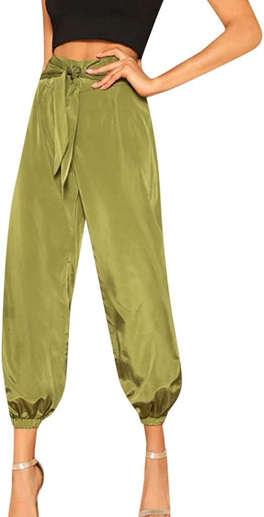 RISTHY Pantalones Anchos Mujer Harén Harem Holgados Pantalón de Piernas Anchas Color Sólido Casual Elegante Verano Acampanados Baggy Pantalón con Cinturón Lazo
