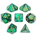 7 Die Polyhedral Dice Set - Basilisk Blood (Teal Pearl) with Velvet Pouch by Wiz Dice