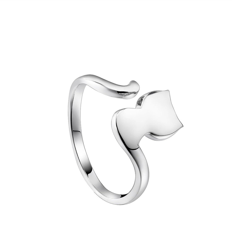 VIKI Lynn Plata de ley ajustable anillo forma de gato