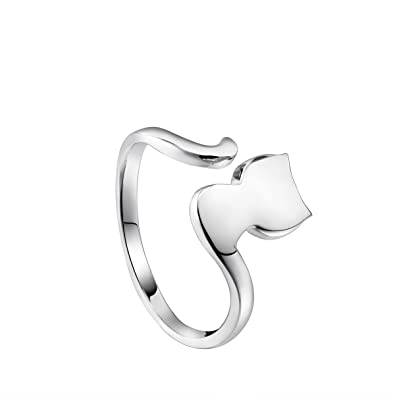 Sweetiee 925 Sterling Silver Finger Ring with Cat Ear and Paw Platinum Size O Adjustable for Woman RSkOxVq8
