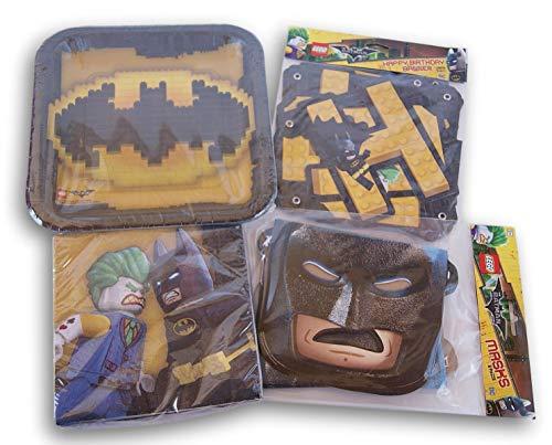 Batman Themed Party Supply Kit - Plates, Napkins, Banner, Mask Favors]()