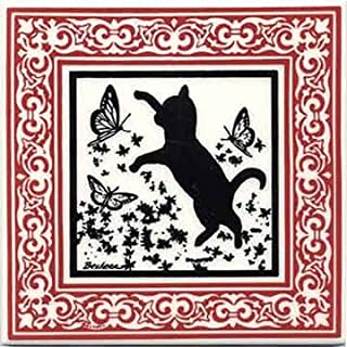 product image for CAT Tile - CAT Wall Plaque - CAT TRIVETS with Ruby Victorian Border: CA-8R