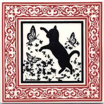 CAT TILE - CAT WALL PLAQUE - CAT TRIVETS WITH RUBY VICTORIAN BORDER: CA-8R (Tile Ceramic Victorian)