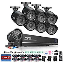 SANNCE 8CH HD 1080N DVR Recorder CCTV Systems Battery Back Up and (8) HD 1280TVL Indoor/Outdoor Weatherproof Surveillance Cameras,Support Smartphone Remote view - NO HDD