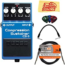 Boss CS-3 Compressor/Sustainer Bundle with Instrument Cable, Patch Cable, Picks, and Austin Bazaar Polishing Cloth