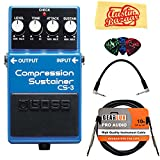 Boss CS-3 Compressor/Sustainer Guitar Effects Pedal Bundle with Gearlux Instrument Cable, Patch Cable, Picks, and Polishing Cloth