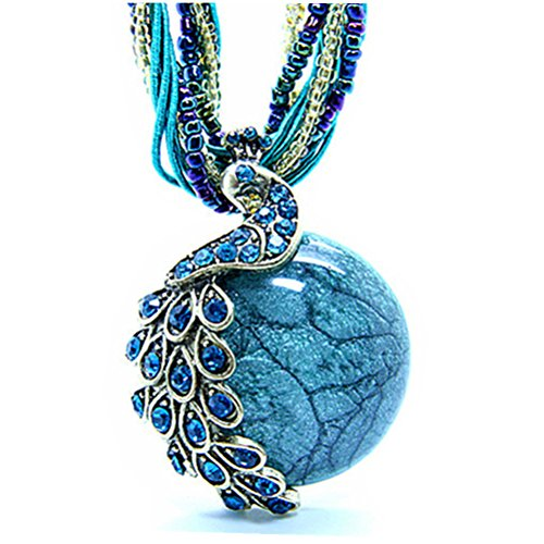 Bohemia Cats Eys opal National Personality Peacock Pendant Necklace for Woman Fashion Jewelry -