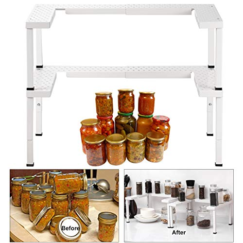 Expandable and Stackable Spice Rack Organizer for Cabinet & Pantry, Nandae 2 Tier Adjustable Height Spicy Shelf, Stable Priumum Iron (White)