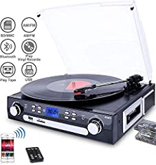 The turntable features: 1.turntable with bluetooth function 2. 3-speed turntable fit for 33 1/3, 45, 78 RPM 3. belt-drive and semi-automatic play tone arm 4. ceramic stereo cartridge with jewel stylus 5. built-in 45 rpm adapter 6. slot-in USB...