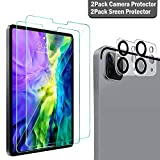 QHOHQ 2 Pack Screen Protector for iPad Pro 11 2020 (2nd Gen) with 2 Pack Camera Lens Protector,Tempered Glass Film,9H Hardness- HD -Anti-Fingerprint-Anti-Scratch,Compatible with Face ID & Apple Pencil (Color: Clear-4pcs, Tamaño: iPad Pro 11 2020)
