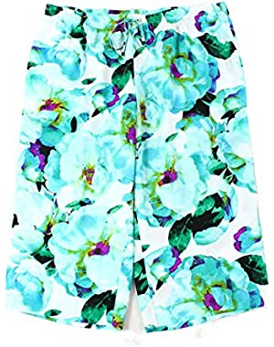 Calvin Klein Women's Floral Drawstring Pull On Pants Blue XL