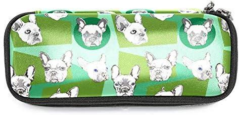 TIZORAX - Estuche para lápices, diseño de bulldog francés, color verde: Amazon.es: Oficina y papelería
