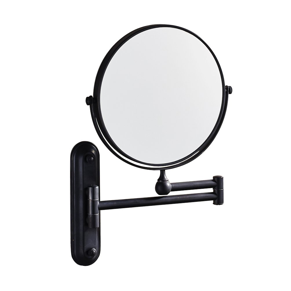 Luxury Wall Mount Adjustable Floding Make-up Mirror Solid Brass Swivel Magnified Mirror Oil Rubbed Bronze Finish Mirror with Folding Arm by GUMA