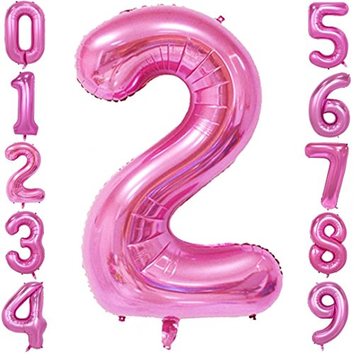 40 Inch Large Number Balloons Pink Mylar Foil Big Number 2 Giant Helium Balloon Birthday Party -