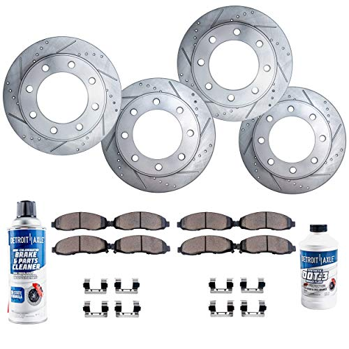 (Detroit Axle - All (4) Front and Rear Drilled and Slotted Disc Brake Rotors w/Ceramic Pads w/Hardware & Brake Cleaner & Fluid for 2000-2005 Ford Excursion - [00-04 F-250 Super Duty] - 4WD)