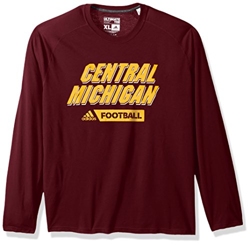 NCAA Central Michigan Chippewas Adult Men Sideline Gridiron Ultimate L/S Tee, Large, Maroon