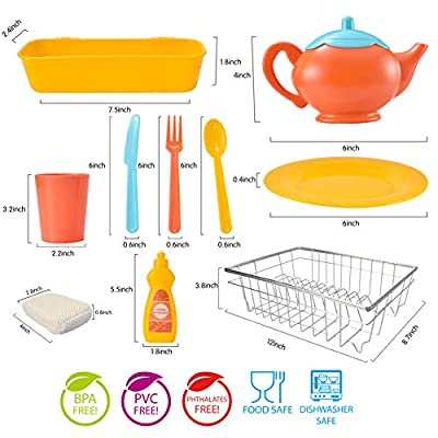 JOYIN Kids Kitchen Pretend Play Dish Wash and Dry Children's Play Dishes Pans and Pots Playset (25 pcs with Drainer): Toys & Games