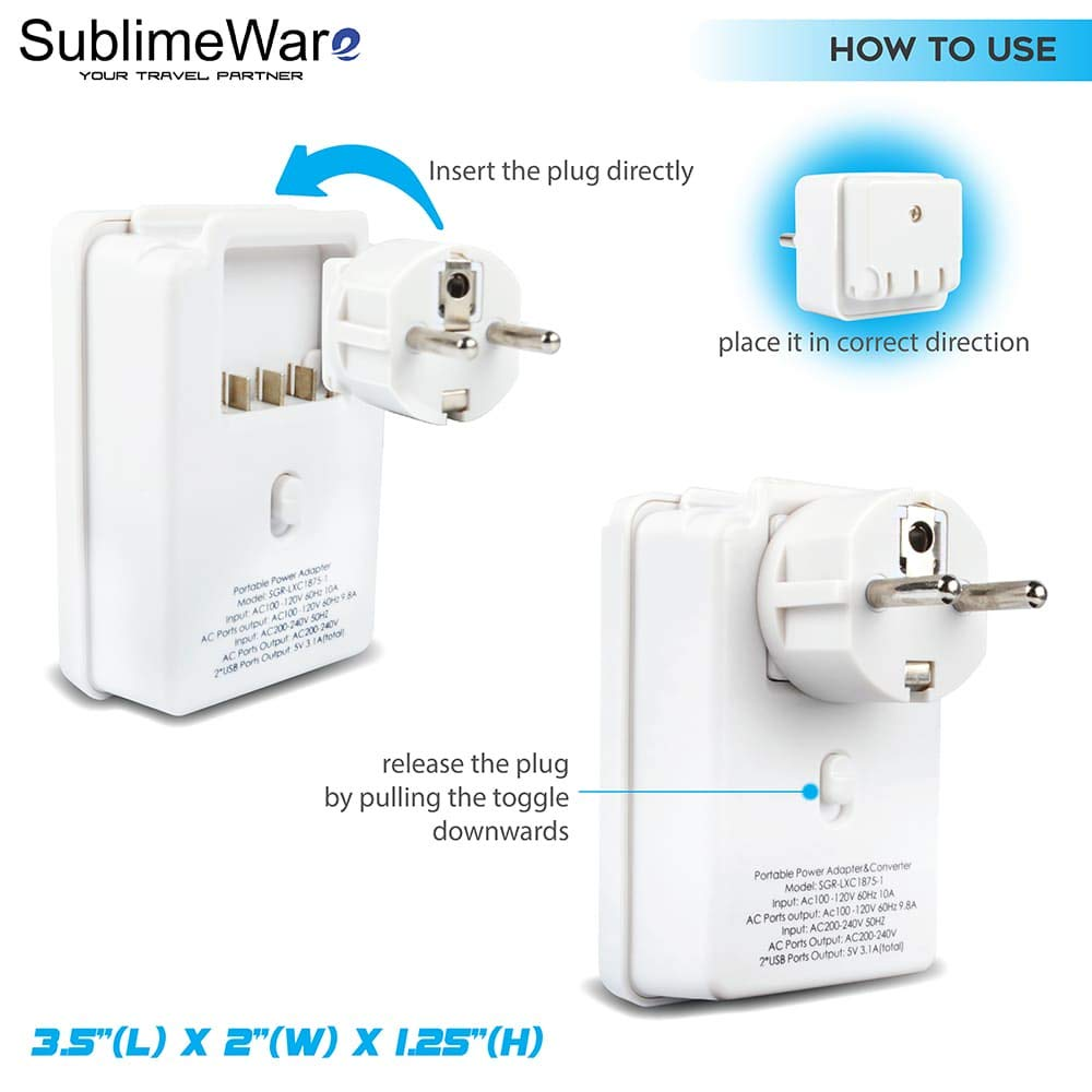 International Travel Adapter Plug Europe US UK China Ireland Smart 2.4 A USB Electrical Charger Dual Voltage Device Sublimeware 2000 W Travel Adapter Kit w// 2 USB Ports /& US Outlets