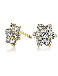 Bling Jewelry Kids Safety Screw back CZ Flower Stud Earrings 14k Gold