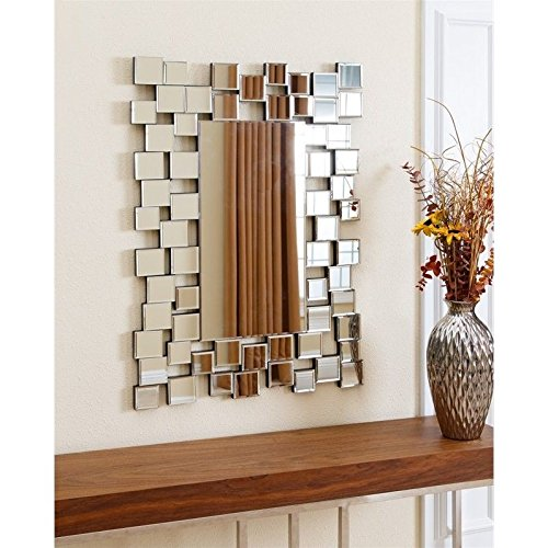 Used, Abbyson Piper Rectangle Wall Mirror in Silver for sale  Delivered anywhere in USA