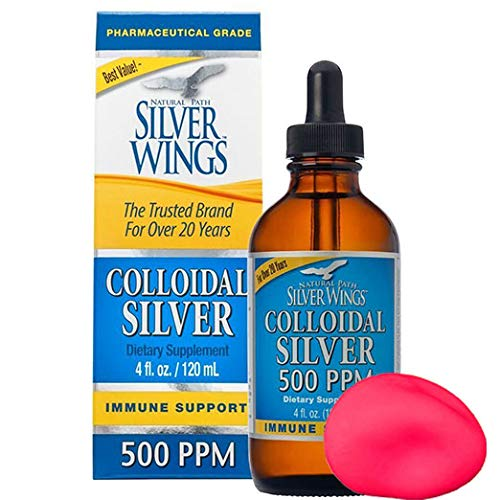Natural Path Silver Wings - Colloidal Silver 500 ppm - Pure Mineral Supplement - Immune Support for Your Family - Powerful Healing Without a Bad Taste (4fl oz/120ml) Bonus Stress - Natural Wings
