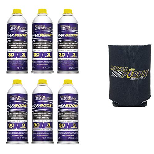 Royal Purple 11757 RP004 Set of 6 Max Boost Octane Booster 16-Ounce Bottles and Koozie