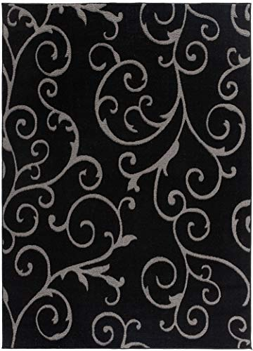 Bella Collection Geometric Swirl Abstract Area Rug, 00968A Black/Black, 5' 2