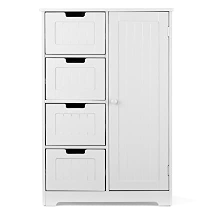 IKayaa Wooden Floor Cabinet With 4 Drawers, 2 Shelves Bathroom Free  Standing Storage Cabinet