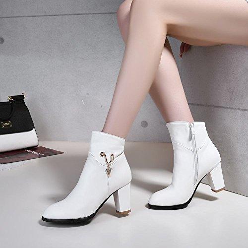 Mee Shoes Damen Blockabsatz Reißverschluss Kurzschaft Stiefel Weiß