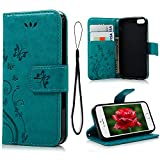 MOLLYCOOCLE iPhone SE 5S 5 Case Natural Luxury Blue Stand Wallet Purse Credit Card ID Holders Magnetic Design Flip Folio TPU Soft Bumper PU Leather Ultra Slim Fit Cover for iPhone SE, 5S, 5