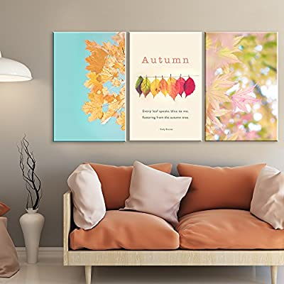 3 Panel Leaves in Autumn with Inspirational Quotes x 3 Panels, Made With Love, Gorgeous Design