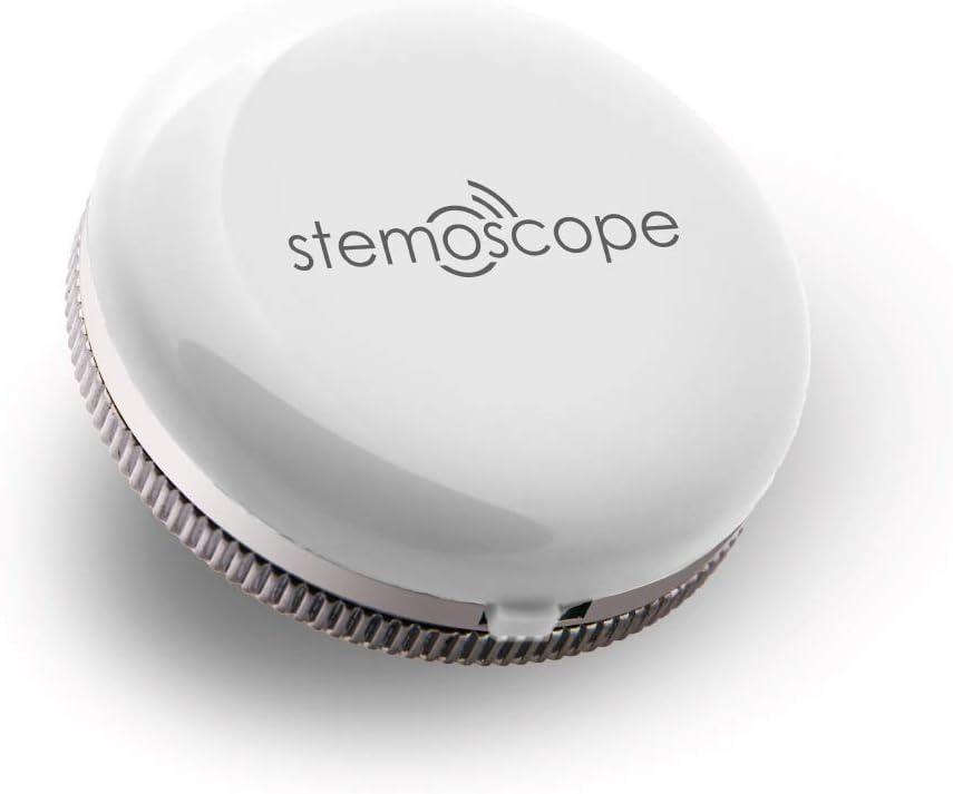 Dispositivo de audición inteligente Stemoscope: rastreador de actividad física para controlar el ritmo cardíaco y los sonidos cardíacos (blanco)