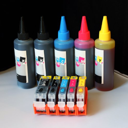 iE Brand - Set of Refillable ink cartridges and an Extra set of high quality refill ink bottles(100ml per color, total 500ml) PGI-5 CLI-8 For Canon PIXMA MP500,MP520,MP530, MP600, MP610, MP800, MP800R, MP810, MP830, MP950, MP960, MP970,MX850; iP4200, iP4200R, P4300, iP4500,iP5200, iP5200R. - Ip4200 Ink Refill