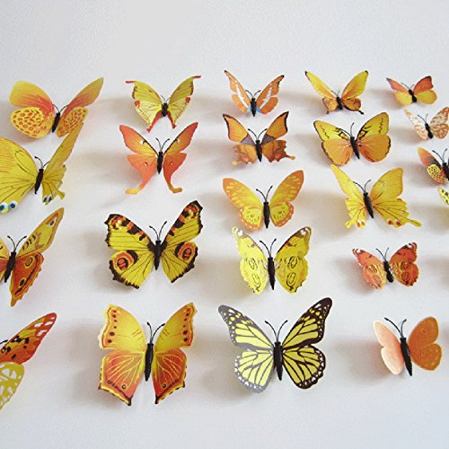 12 pcs Butterfly Wall Stickers 3d Butterfly Wall PVC 3D Magnet Butterfly Wall Stickers Butterflies Decors Wedding Party Home Kitchen Fridge Decoration Magnets Stickers (2Yellow) by - Wall Butterfly Yellow Decorations