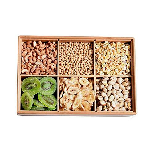 DROHE-Q Madera de bambú Bandeja de Frutas secas Sub-Enrejado con Tapa Tapa Multifuncional Snack Candy Placa Europea...