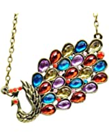 World Pride Vintage Style Fashion Jewelry Bronze Chain Crystal Peacock Pendant Necklace