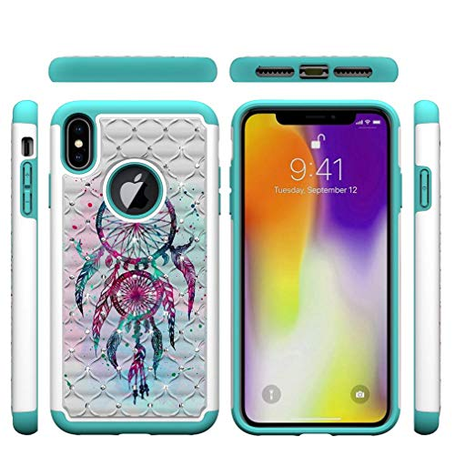 iPhone XS Max Case,2 in 1 Hybrid Case Inner Soft TPU Bumper Back Cover Hard PC with Creative Pattern & Point Drill Impact Resistant Case Compatible with Apple iPhone XS Max [6.5 inch] -Dreamcatcher