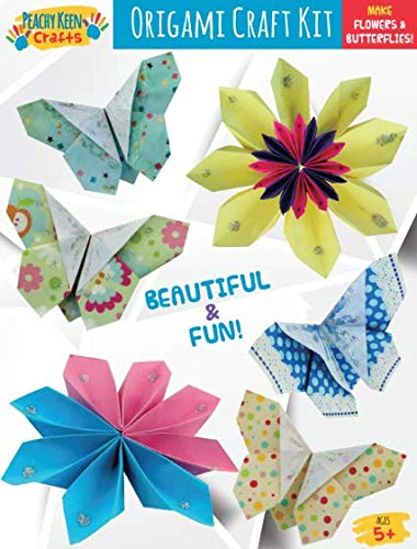 Create DIY Butterflies and Flowers 60 Papers Peachy Keen Crafts Beginners Origami Paper Craft Kit for Kids