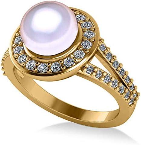 Anillo de compromiso con halo de Perla y Diamante 14k, oro amarillo, 8 mm (0.54ct), anillo de compromiso de oro amarillo Por siempre uno, anillo de compromiso, anillo de promesa