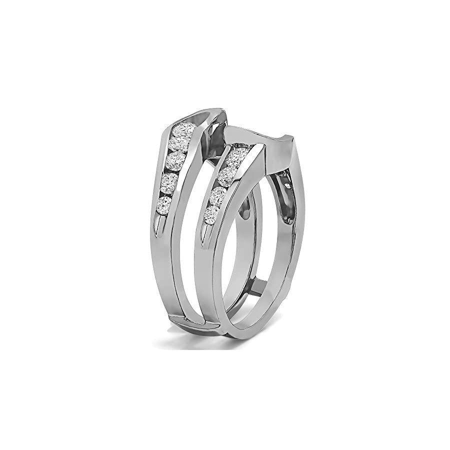 TwoBirch Sterling Silver Knott Style Chevron Ring Guard with Diamonds (G H,I2 I3) (0.26 ct. tw.)