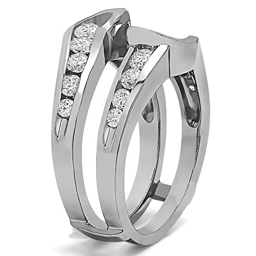 Sterling Silver Knott Style Chevron Ring Guard with Diamonds (G H,I2 I3) (0.26 ct. tw.)