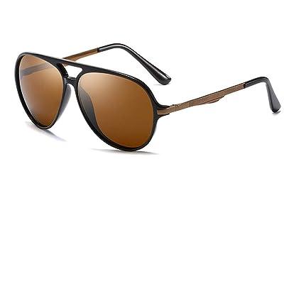 Gafas de sol para hombre/Polarizador retro/Gafas con marco de metal/UV y deslumbramiento/Gafas de conducción/Gafas de sol clásicas, Marrón 1, 136 * 60mm: Ropa y accesorios