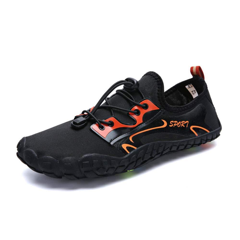 YSZDM Mens Wasser Schuhe, schnell trocknend Sport Aqua Schuhe Schwimmen Schuhe mit Drainagelöcher für Schwimmen Walking Yoga Lake Beach Garden Park Fahren Stiefelfahren,schwarz,42