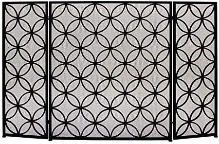 暖炉スクリーン MYL 特大スチール幾何暖炉スクリーン、耐久性に優れたフレームとメタルメッシュ、自立スパークガード装飾、ブラックの3倍 - トール76センチメートルを (Color : Black)
