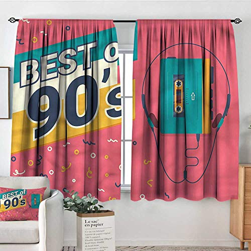 RenteriaDecor 90s,Customized Chid Curtains Best of 90s Cassette Player 52