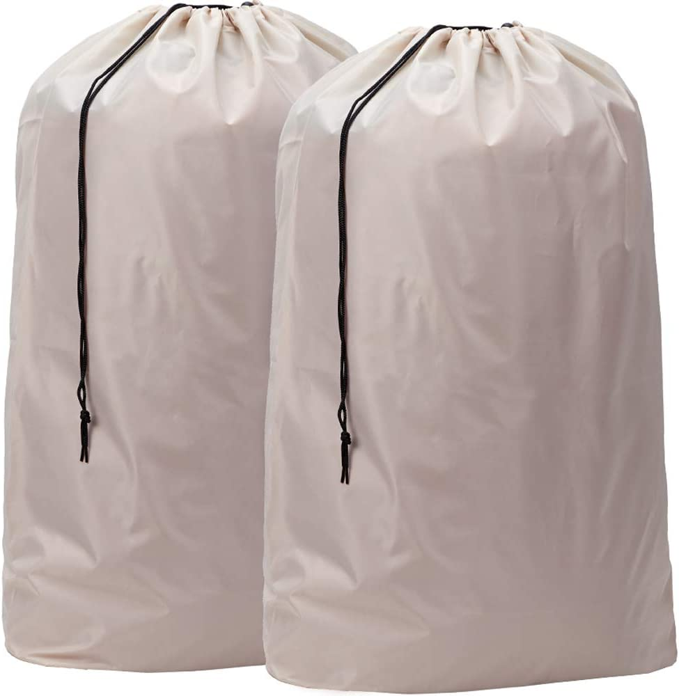 HOMEST 2 Pack XL Nylon Laundry Bag, Machine Washable Large Dirty Clothes Organizer, Easy Fit a Laundry Hamper or Basket, Can Carry Up to 4 Loads of Laundry, Beige