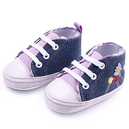 exiu bebé niña niño lienzo zapatos de encaje antideslizante suave única prewalker zapatos 0–