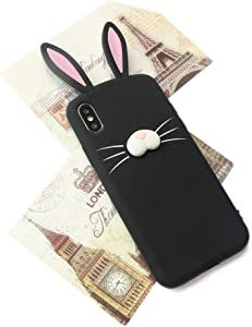 we3Dcell Cute Rabbit Bunny Ears 3D Nose Soft Silicone Case Cover for iPhone Xs MAX (Black)